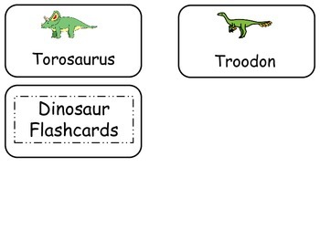 Dinosaurs Picture Word Flash Cards. Preschool flash cards for children.