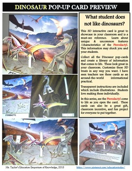 Dinosaurs: Pterodactyl Pop-Up Card