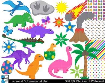 Dinosaurs Set Clipart - Digital Clip Art Graphics 67 images cod75