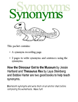 Dinosaurs - Synonyms - Writing  First Grade