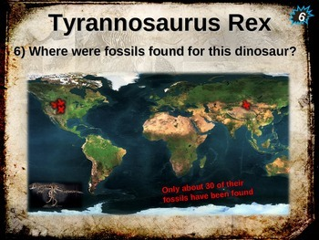 Dinosaurs: TYRANNOSAURUS REX (T-REX) - Ten facts in a dynamic, interactive PPT