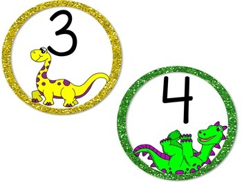 Dinosaurs Table Numbers and Colors - Circles