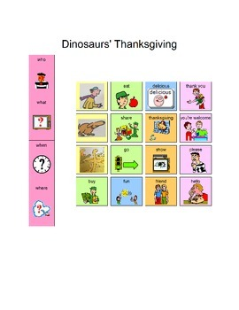 Dinosaurs' Thanksgiving Core Word Sentences with Manual Board for AAC Users