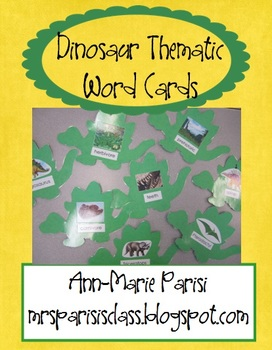 Dinosaurs Thematic Word Card FREEBIE