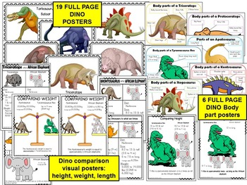 Dinosaurs Theme Pack:Center games, Literacy, Math, Science, Art, Worksheets
