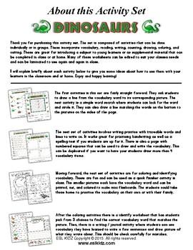 Dinosaurs Themed Activity Set / Worksheets + Flashcards