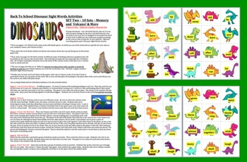 "Dinosaurs ""Volcano!""  Sight Words Activities Literacy Centers-Last 120 Dolch"