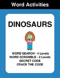 Dinosaurs - Word Search Puzzles, Word Scramble,  Secret Code,  Crack the Code