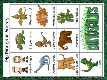 Dinosaurs Word Wall Cards & Personal Word Wall