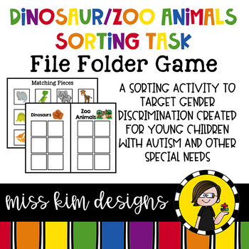Dinosaurs + Zoo Animals Sorting File Folder Game for stude
