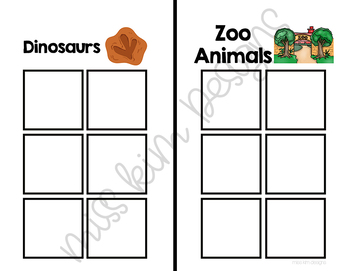 Dinosaurs and Zoo Animals Sorting File Folder Game for Special Education