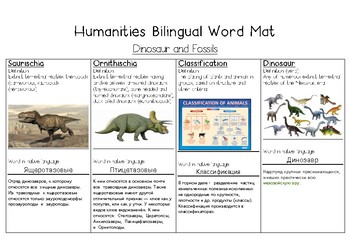 Dinosaurs and Fossils Bilingual Word Bank