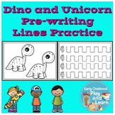 Dinosaurs and Unicorns Pre-writing Lines Practice
