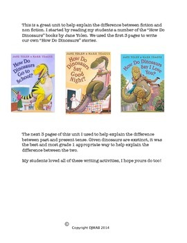 Dinosaurs mini unit - writing activities for fiction and n