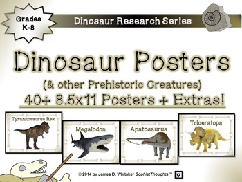 Dinosaurs and Prehistoric Creatures Posters and Research A
