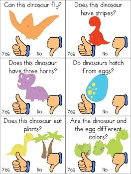 Dinosaurs...Roar! Adapted Book, Yes/No Clips & Color Sorting Cards