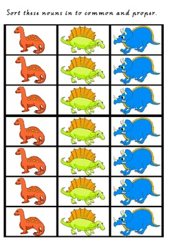 Dinounsaur Noun Sort - Common and Proper