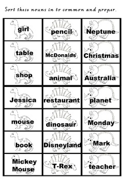 Dinounsaur Noun Sort - Common and Proper