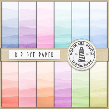 Dip Dye Watercolor Papers, Rainbow Gradient, Dyed Colors