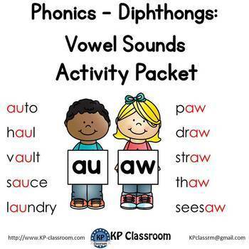 Diphthong AU AW Vowel Sounds Activity Packet and Worksheets