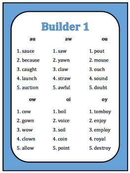 Diphthong Buddy Activity (practice with ou, ow, oy, oi, au, aw)