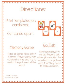 Diphthong Card Game for oi and oy