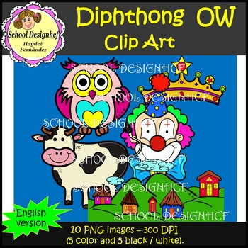 Diphthong Clip Art OW (School Designhcf)