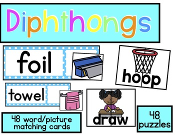 Diphthong Fun - Puzzles and Matching Cards
