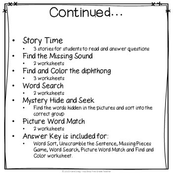 Diphthong Word Work Bundle