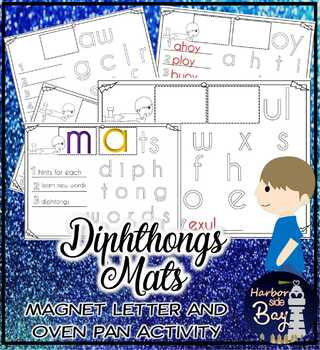 Diphthong Mats Magnetic Alphabet Letters and Oven Pan Mats Grade Level 3-5