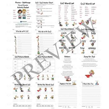 Diphthong OI OY Vowel Sounds Activity Packet and Worksheets