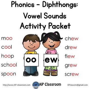 Diphthong OO EW Vowel Sounds Activity Packet and Worksheets