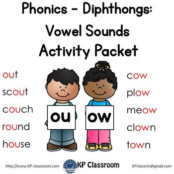 Diphthong OU OW Vowel Sounds Activity Packet and Worksheets