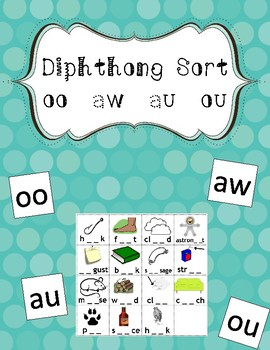Diphthong Picture Sort for au, aw, oo and ou