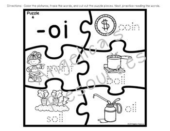 Diphthong Puzzles : Diphthong Literacy Center Activities - Phonics Activities