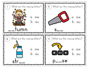 Vowel Diphthong Task Cards with Multiple Choice