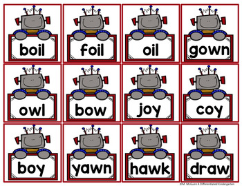 Diphthong Word Recognition and Fluency Yatta - In color and black/white