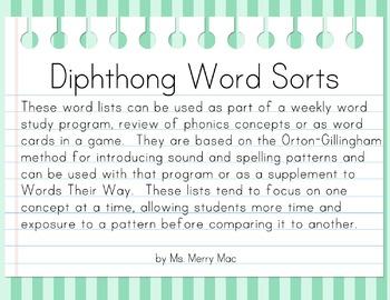 Diphthong Word Sorts   Orton-Gillingham Spelling List