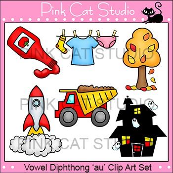 "Diphthong ""au"" Phonics Clip Art Set - Commercial Use Okay"