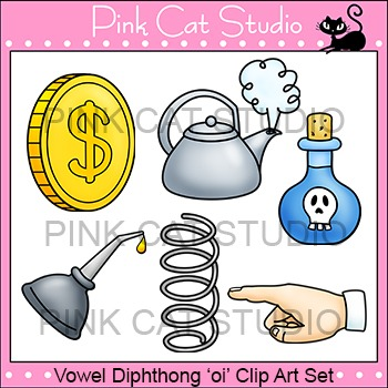 "Diphthong ""oi"" Phonics Clip Art Set - Commercial Use Okay"