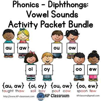 Diphthongs Auaw Oioy Ouow Ooew Vowel Sounds Activity Packet Bundle