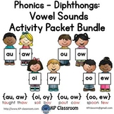Diphthongs AU/AW OI/OY OU/OW OO/EW Vowel Sounds Activity Packet Bundle