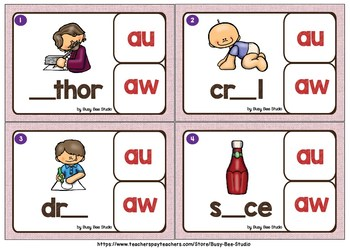 Diphthongs -AU- and -AW- Clip Cards