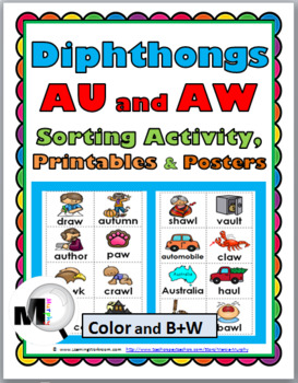 Vowel Diphthongs AU & AW Sorting with Illustrations, Printables & Posters