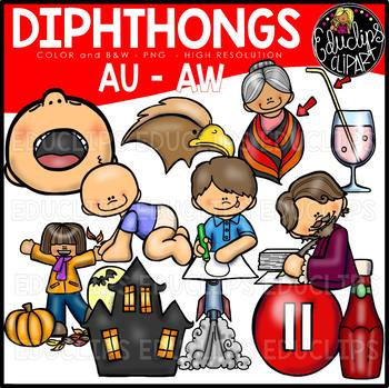 Diphthongs AW-AU Clip Art Bundle {Educlips Clipart}