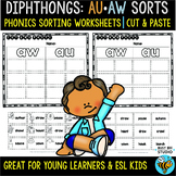 Diphthongs -AW- and -AU- Sorts | Cut and Paste Worksheets