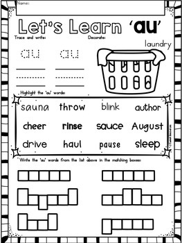 Diphthongs No Prep Phonics Printables Bundle