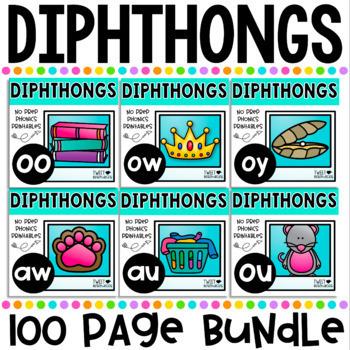 Diphthongs No Prep Phonics Printables Bundle