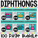 Diphthongs No Prep Phonics Printables Bundle includes au, aw, oy, oo, ou and ow