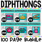 Diphthongs No Prep Phonics Printables Bundle includes au, aw, oy, oo, ou and ow